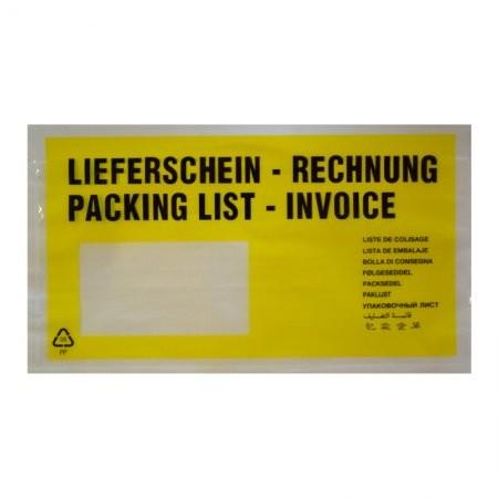 1000 Lieferscheintaschen DIN lang (gelb)