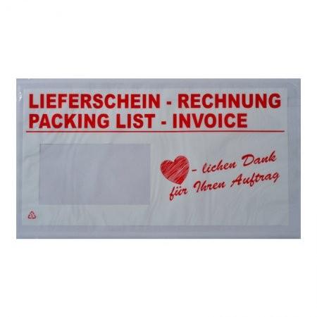 1000 Lieferscheintaschen DIN lang (Danke)