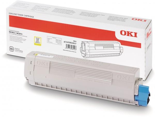 OKI MC853 MC873 Original Toner Gelb 45862837