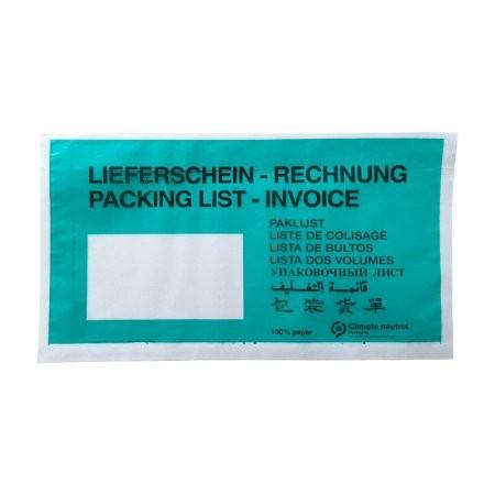 Papier-Lieferscheintaschen DIN lang VPE 1000 (bedruckt)